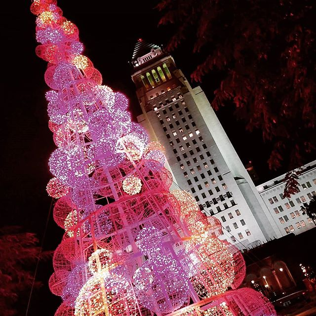Light installations and Christmas grandeur @grandpark_la #dtla #christmastree