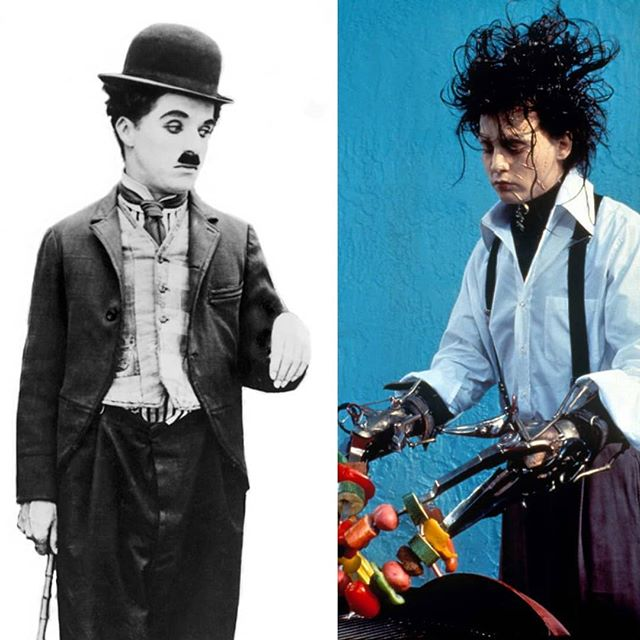 What are these two doing in the same Instagram post together, you might be asking... it turns out Johnny Depp used Charlie Chaplin for inspiration on how to show deep emotion without words. You can really see the similarity especially in the way Depp kinda duck waddles in the movie! #edwardscissorhands #charliechaplin #classichollywood #christmasmovies