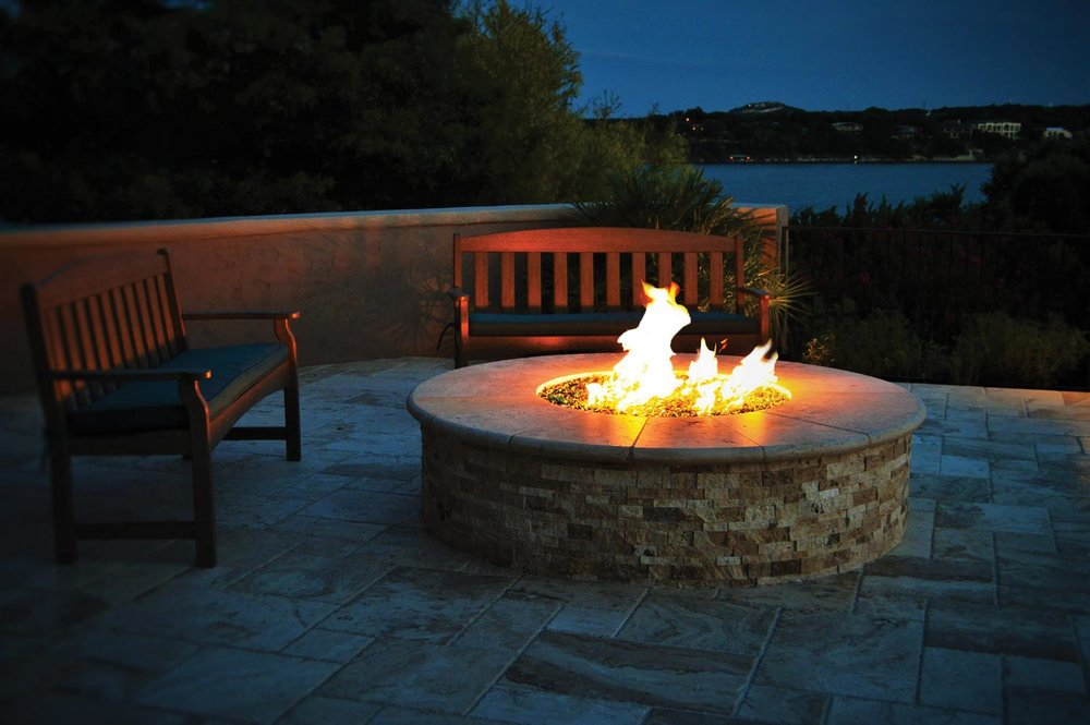 Circular Fire Pit for your Outdoor Space at Chim Chimney Fireplace Pool & Spa