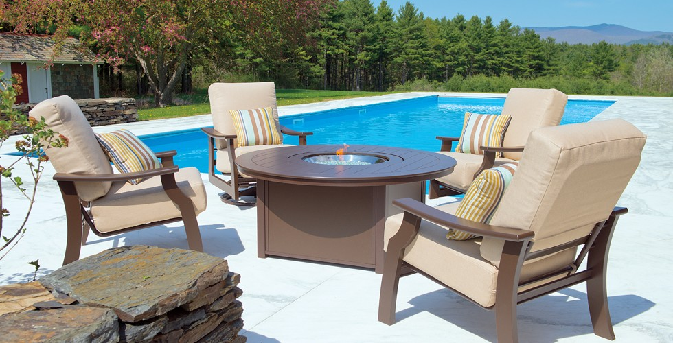 patio set and fire table at chim chimney fireplace pool spa - Telescope Patio Furniture