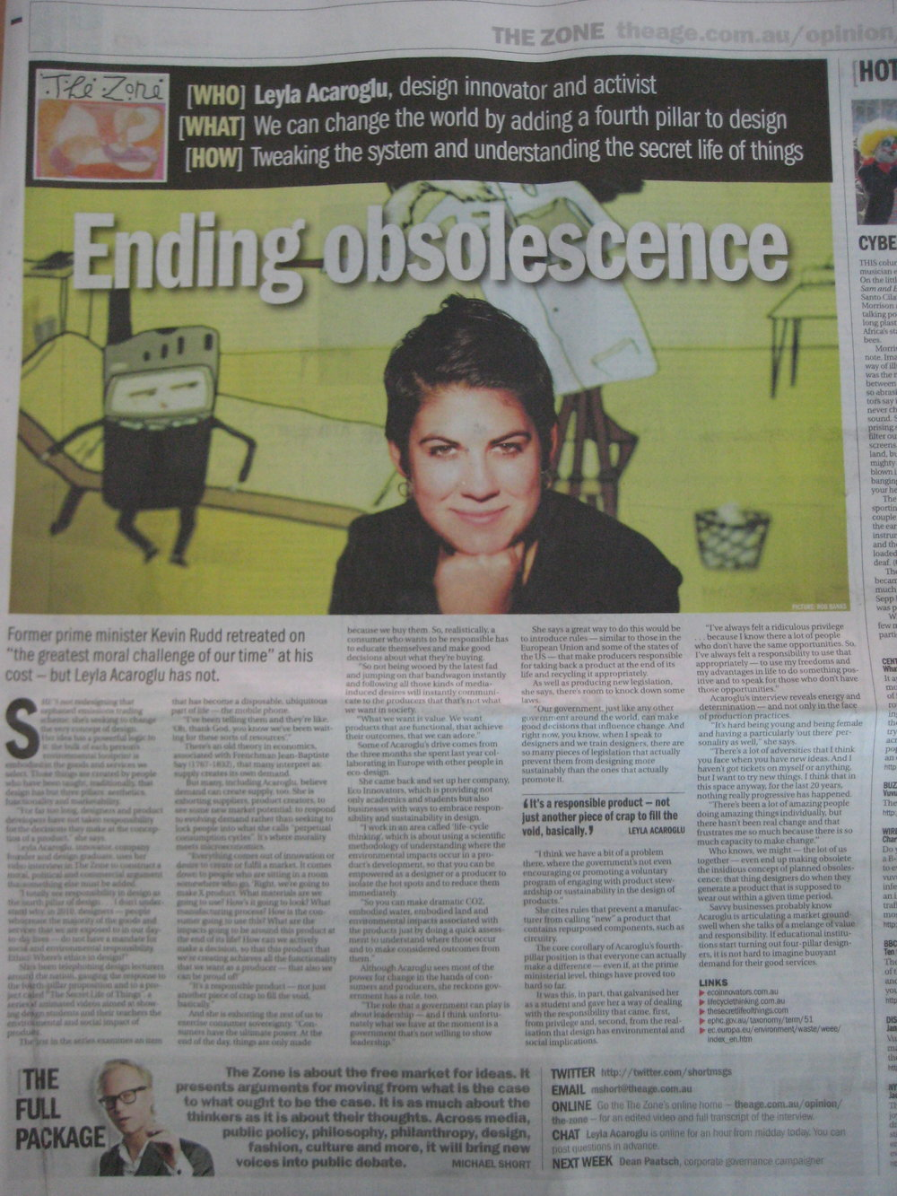 The Age Newspaper Interview in The Zone 2010