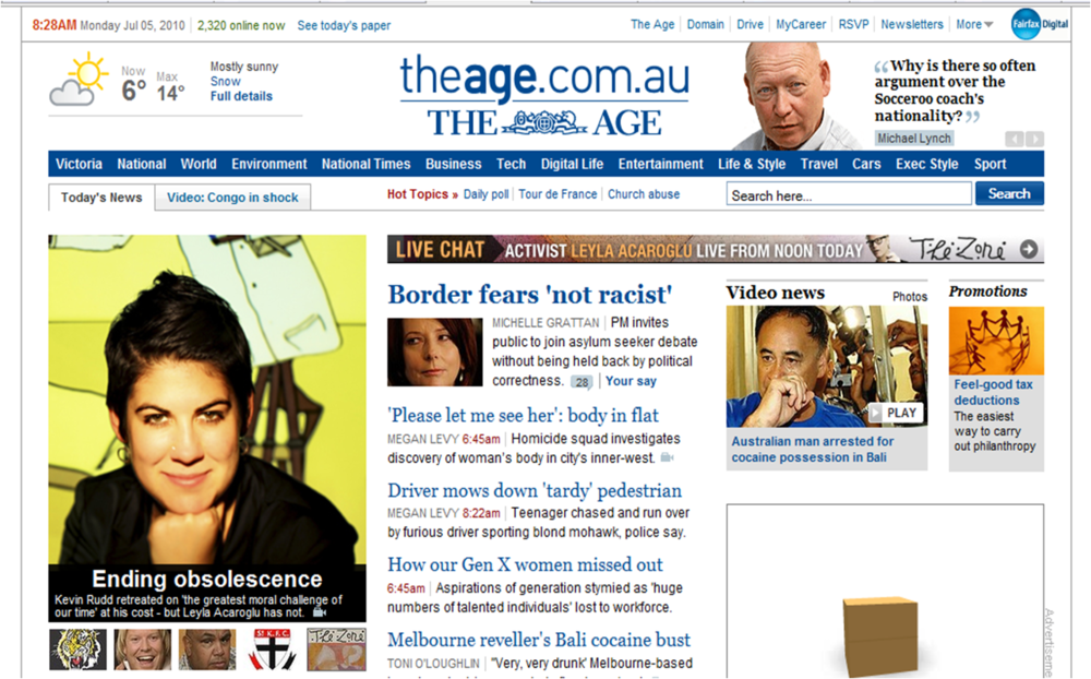 The Age Newspaper Homepage