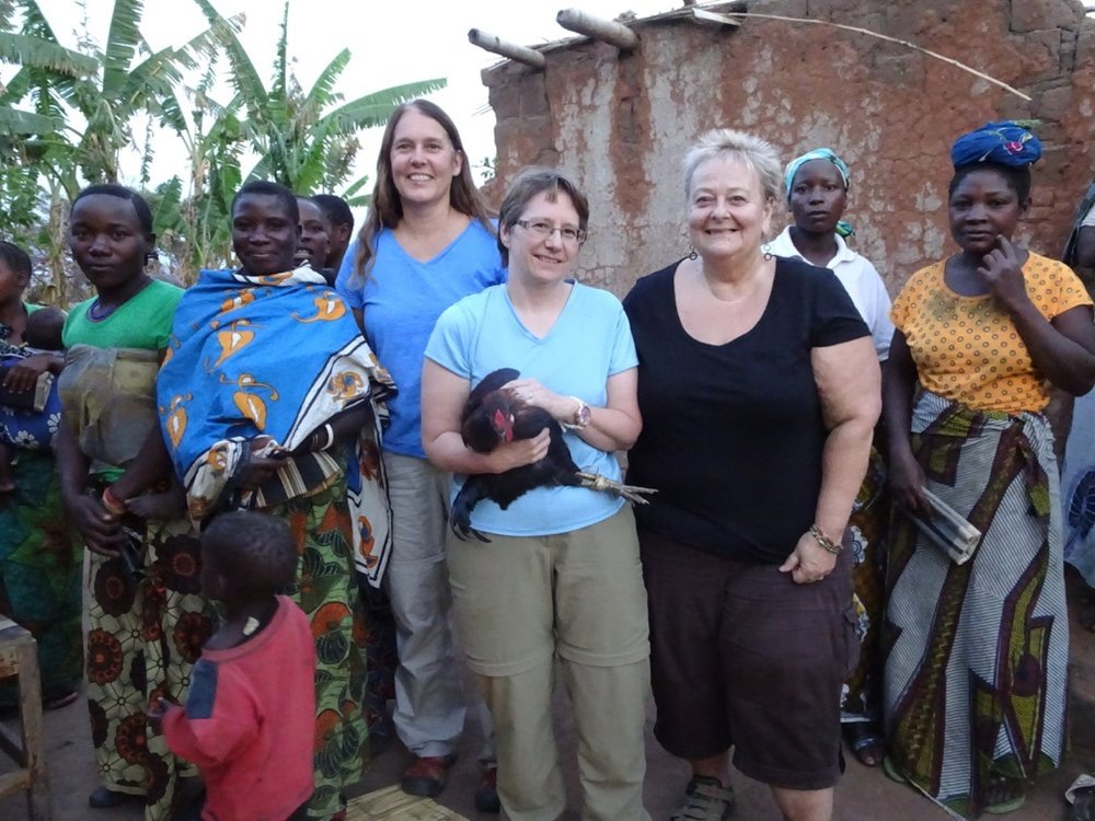 Rebecca, Dr. Gerlach, and Debbie with Ntemba Village Women's Chicken Cooperative