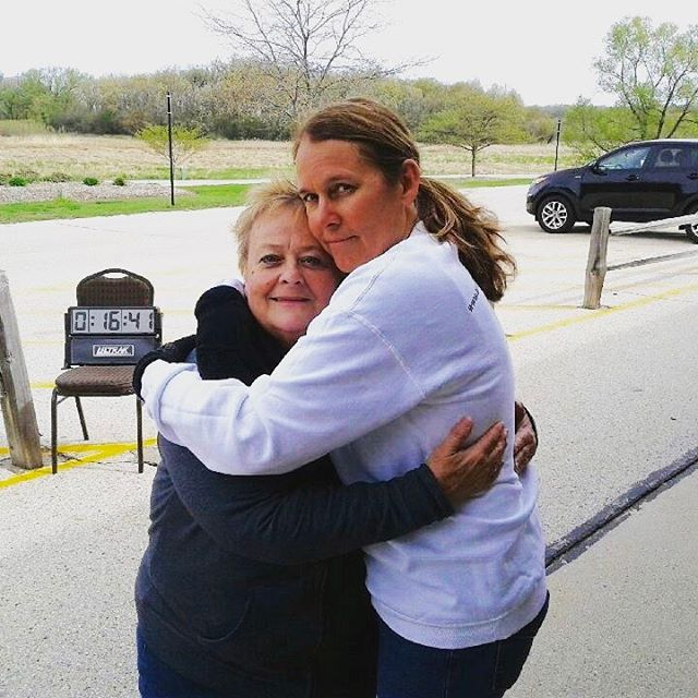 Debbie and Rebecca hug after finishing the Walk/Run!  #Water4Africa #walkrun #charity #aidafricaschildren