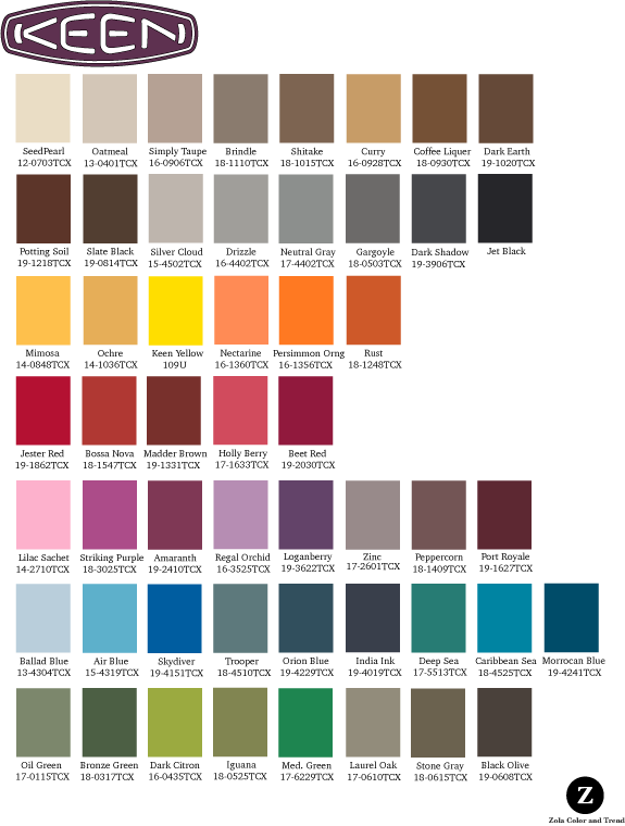 Keen   Palette designed to provide color options to  multiple categories and addressing  mens, womens, and children markets.
