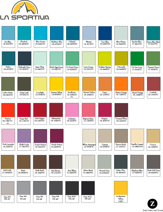 La Sportiva   Bright and colorful palette for use on outdoor recreation footwear.