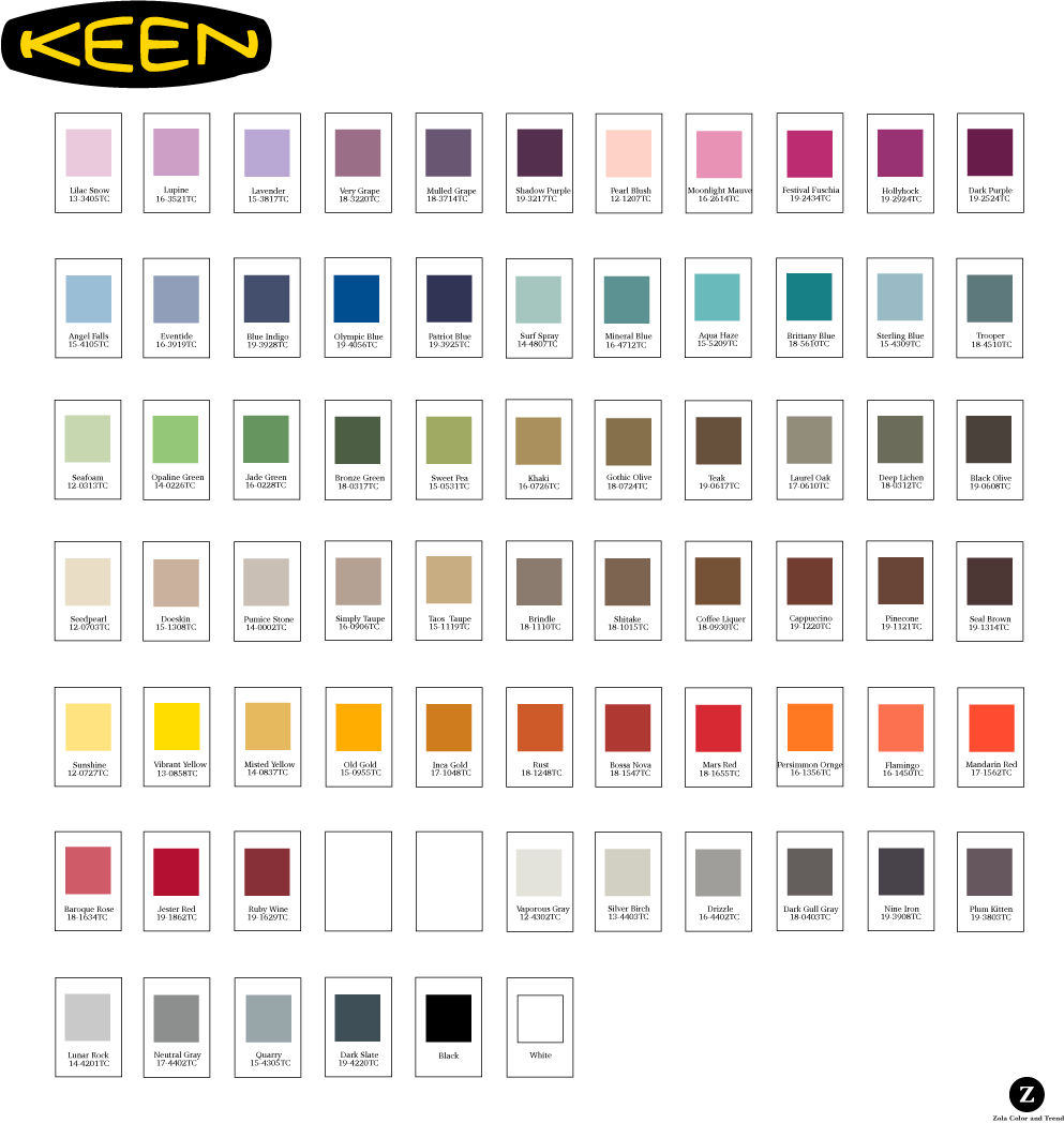 Keen   Palette poster created for the use of the Keen product creation team. Each color had a corresponding fabric chip with all of the color information contained on it. Each chip was attached to the palette with velcro and was removable so designers and developers could work directly with the colors.