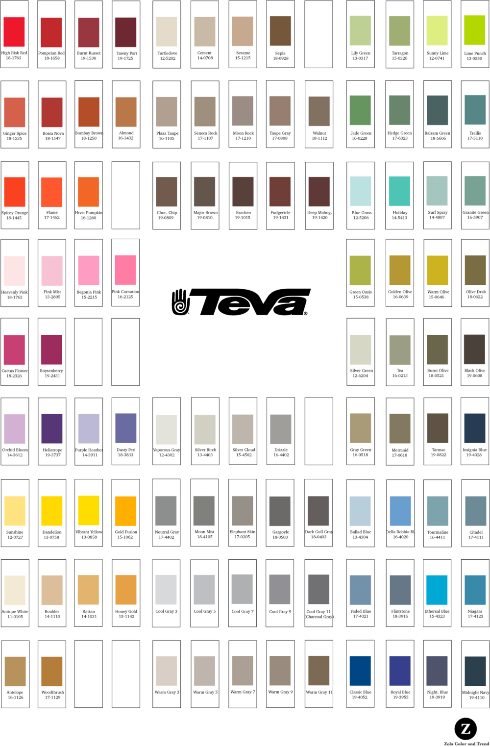 Teva    Palette poster created for the use of the Teva product creation team. Each color had a corresponding fabric chip with all of the color information contained on it. Each chip was attached to the palette with velcro and was removable so designers and developers could work directly with the colors.