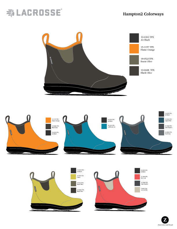 LaCrosse Lifestyle  Women's short rubber boot color options.