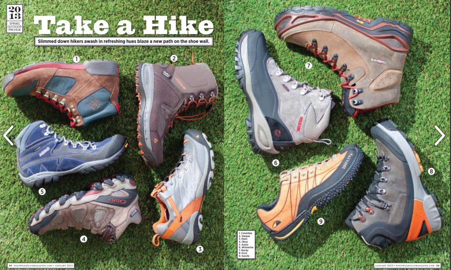 Oboz  Hiking boot featured in the Spring 13 Footwear Plus magazine.