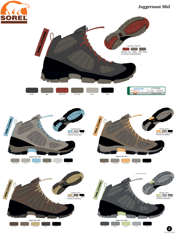 Sorel Men's and women's hiking boot colors.