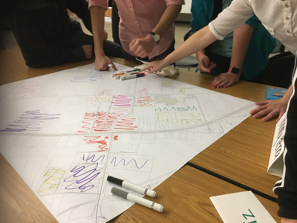 Each team prepared land use maps illustrating future visions for the Creekside area.