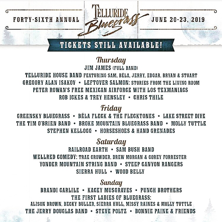 SK will be playing Telluride Bluegrass Festival with Brandi Carlile, Kacey Busgraves + more!