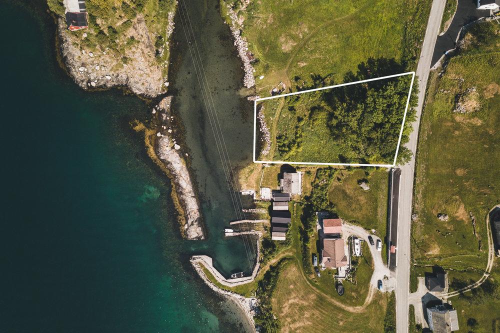 Dronefoto med utsnitt av tomtegrense.
