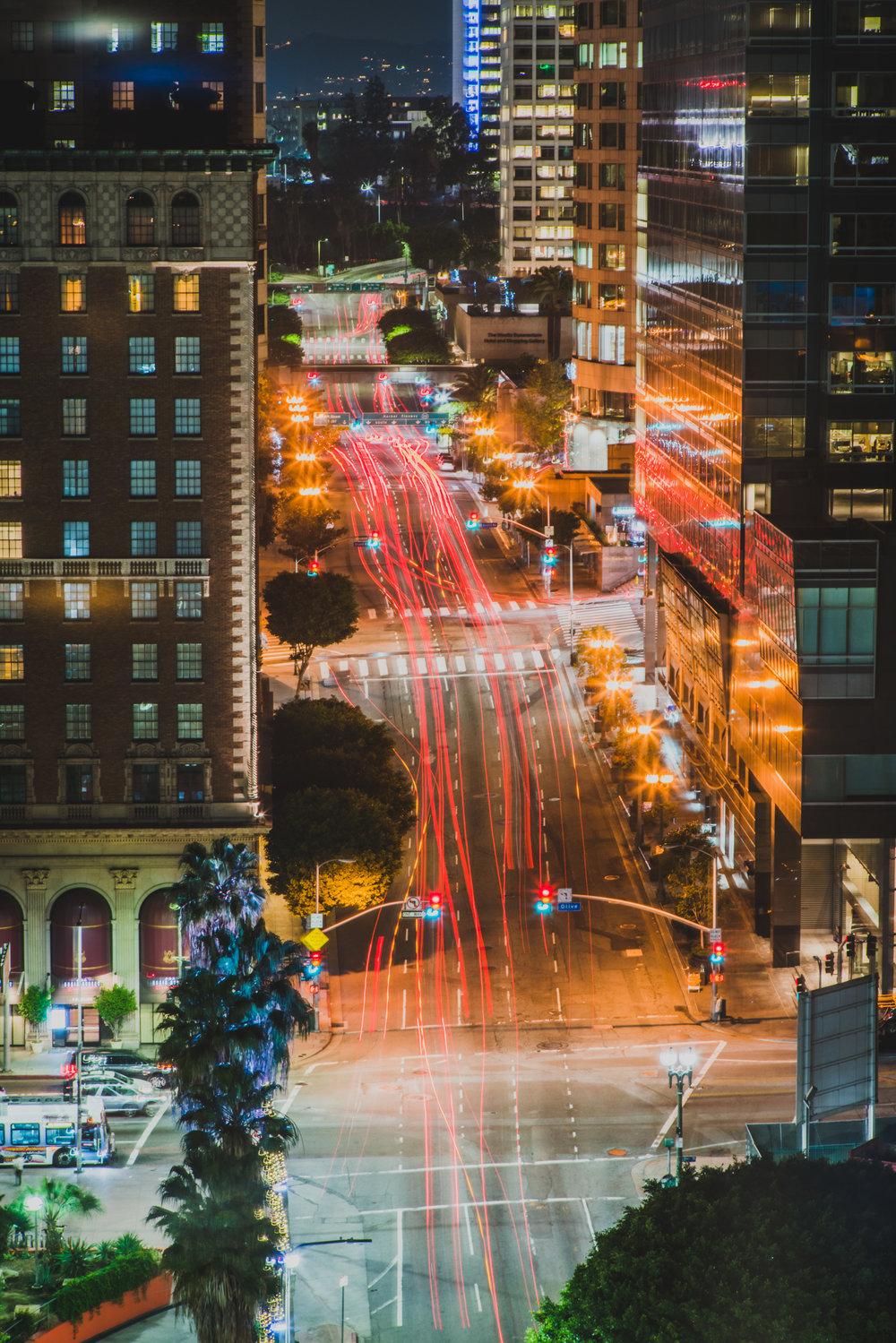 Light trails illuminate the LA strip