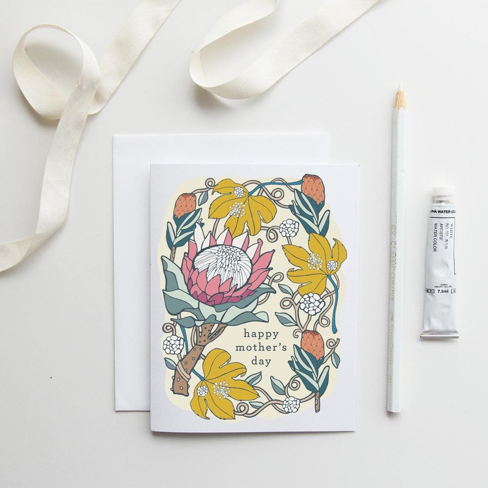 Root & Branch Paper Co. //  Happy Mother's Day Card in Pink Ice Protea