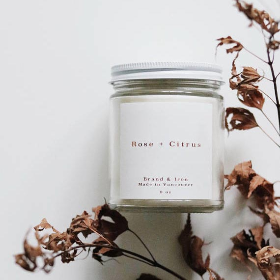 Brand Iron //  Rose + Citrus Scented Candle