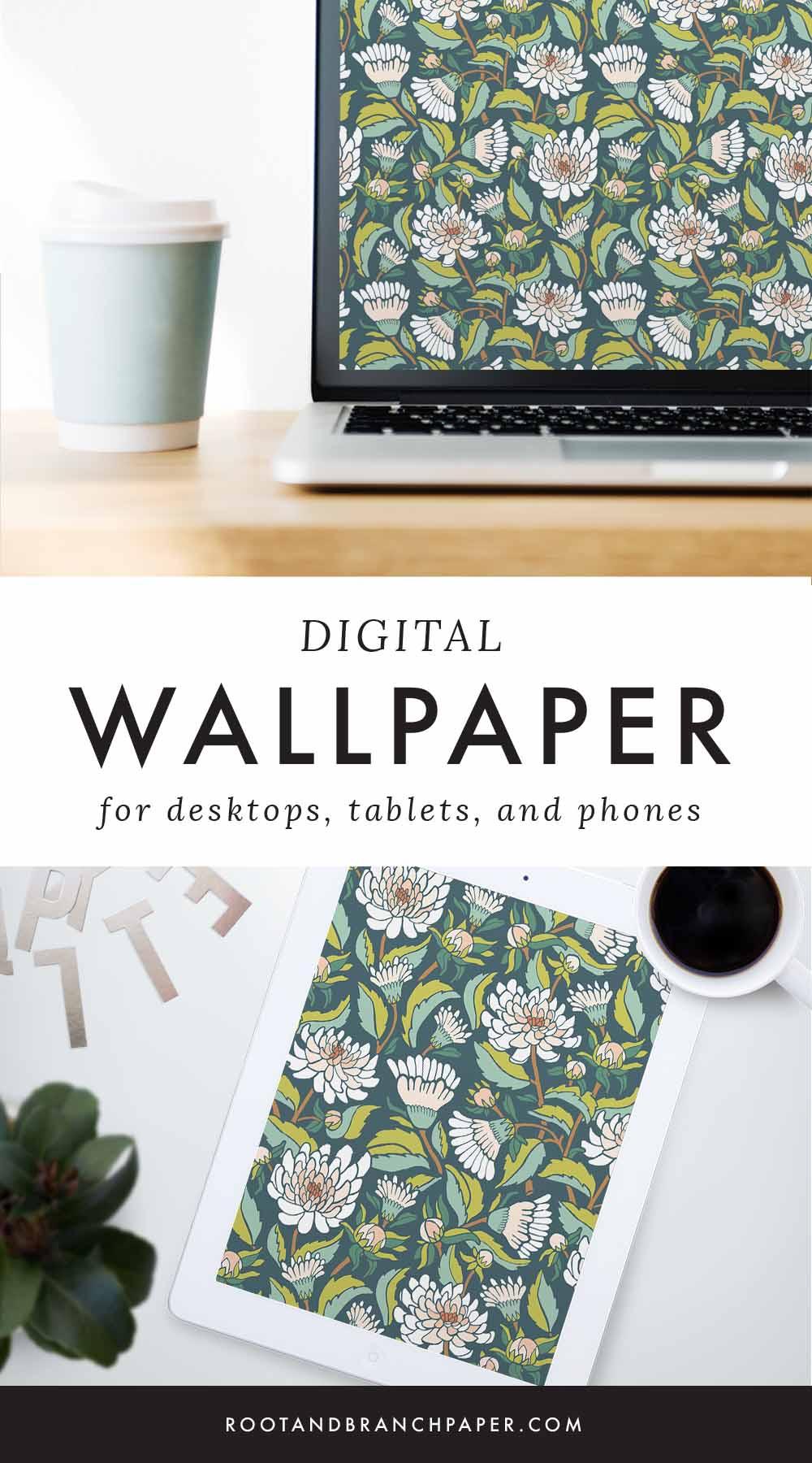 Free Desktop Wallpaper | Download Floral Illustrated Digital Wallpapers for Desktop, Tablet, + Phone | Root & Branch Paper Co.
