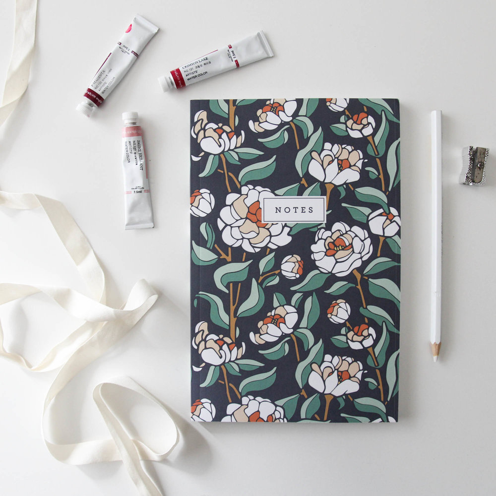Coral Charm Peony Notebook