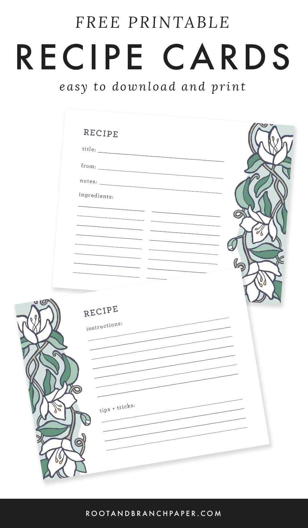 Free Printable Recipe Cards | Recipe Cards for Bridal Shower, Floral Illustrated Recipe Pages, Downloadable Recipe Cards | from the Root & Branch Paper Co. blog