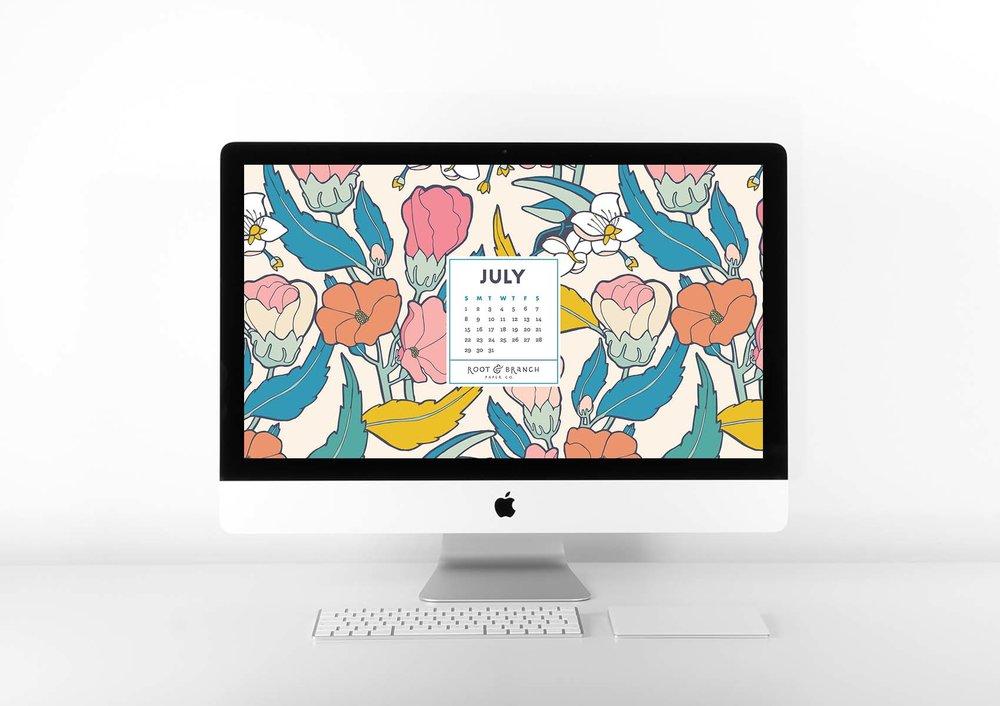 July 2018 Digital Calendar, Desktop Wallpaper, Floral Illustrated Calendar Wallpaper for Desktop, Tablet, and  Phone // Root & Branch Paper Co. Blog