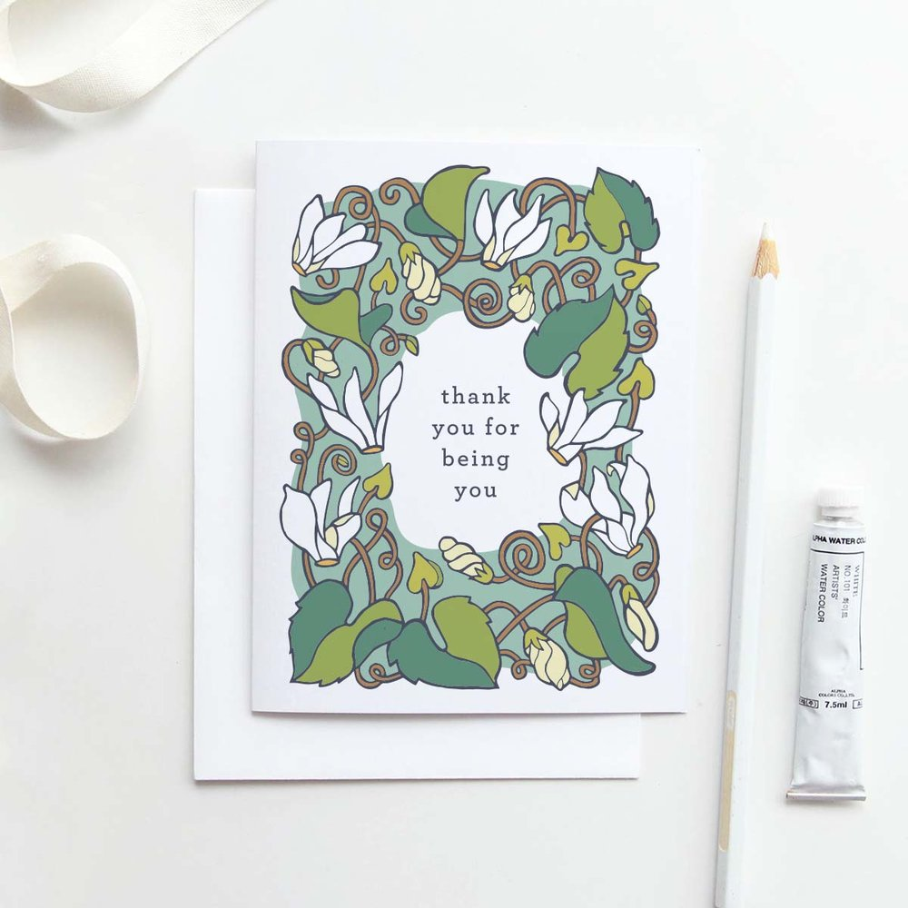Our  Thank You for Being You card  in Cyclamen