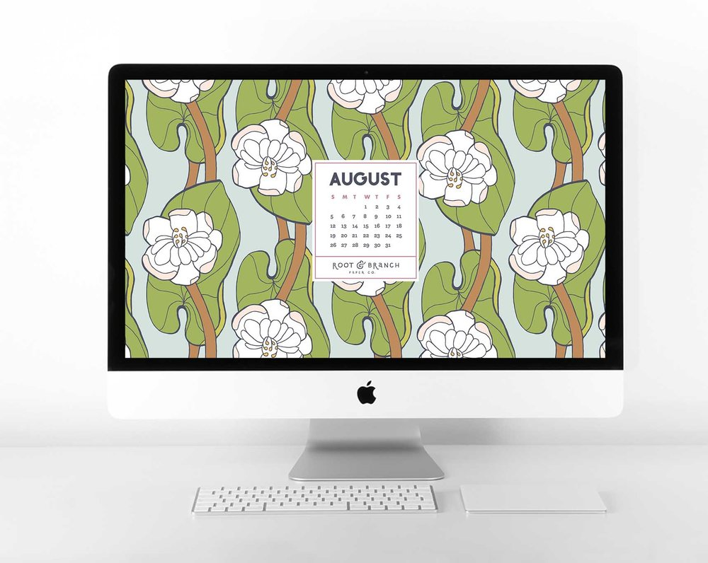 August 2018 Digital Calendar, Desktop Wallpaper, Floral Illustrated Calendar Wallpaper for Desktop, Tablet, and Phone // Root & Branch Paper Co. Blog