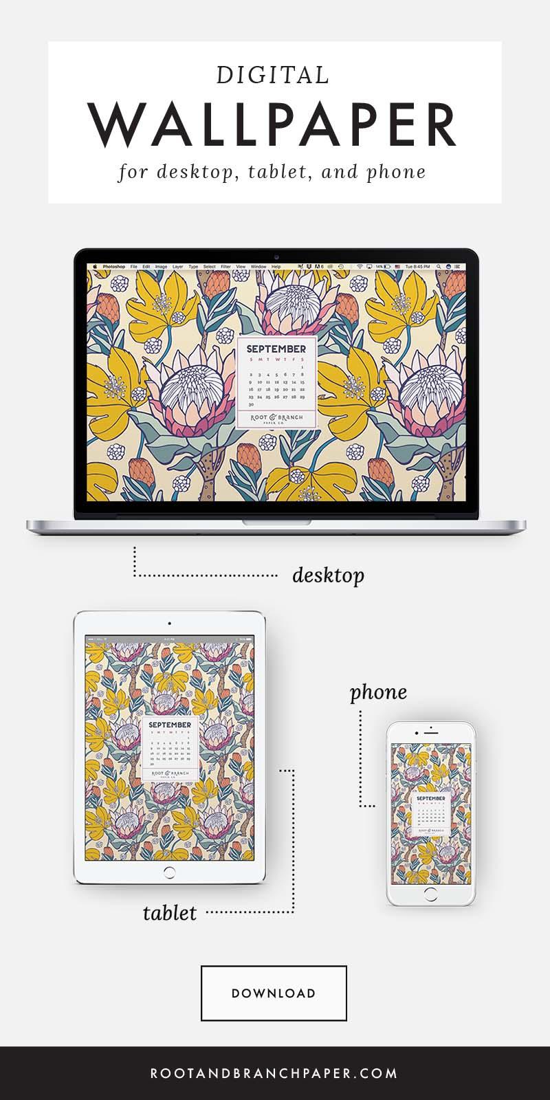 September 2018 Desktop Wallpaper, Free Floral September 2018 Monthly Calendar Desktop Background | Download Floral Illustrated Digital Wallpapers for Desktop, Tablet, + Phone | Root & Branch Paper Co.