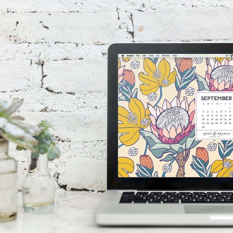 September 2018 Desktop Wallpaper Free Floral Monthly Calendar Background
