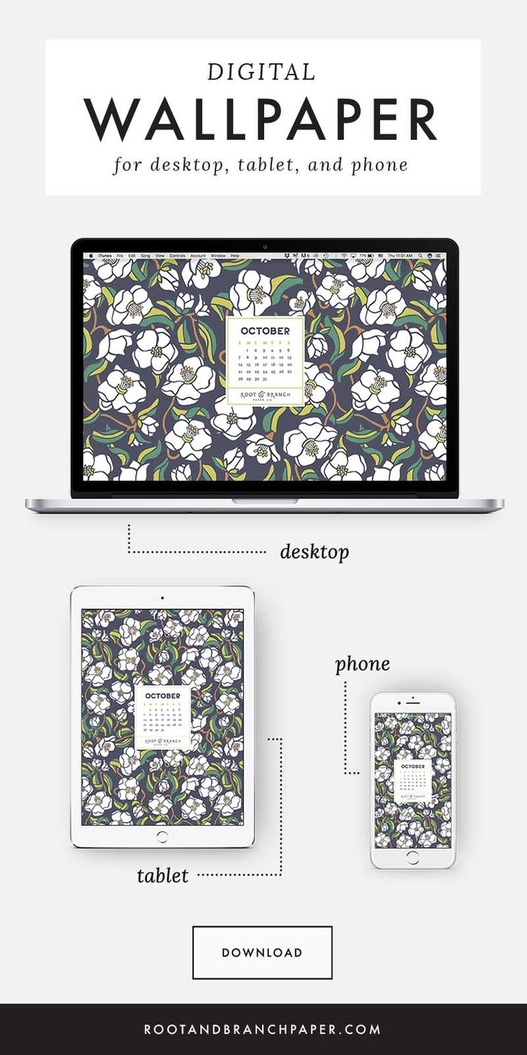 Free Digital Wallpaper October 2018 Calendar Root Branch Paper Co