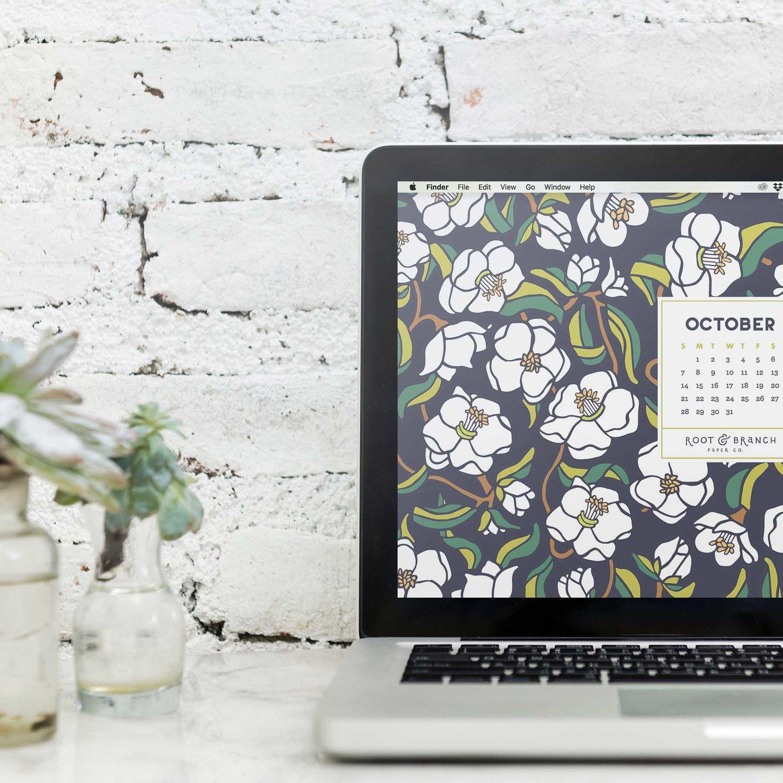 October 2018 Desktop Wallpaper, Free Floral October 2018 Monthly Calendar Desktop Background | Download Floral