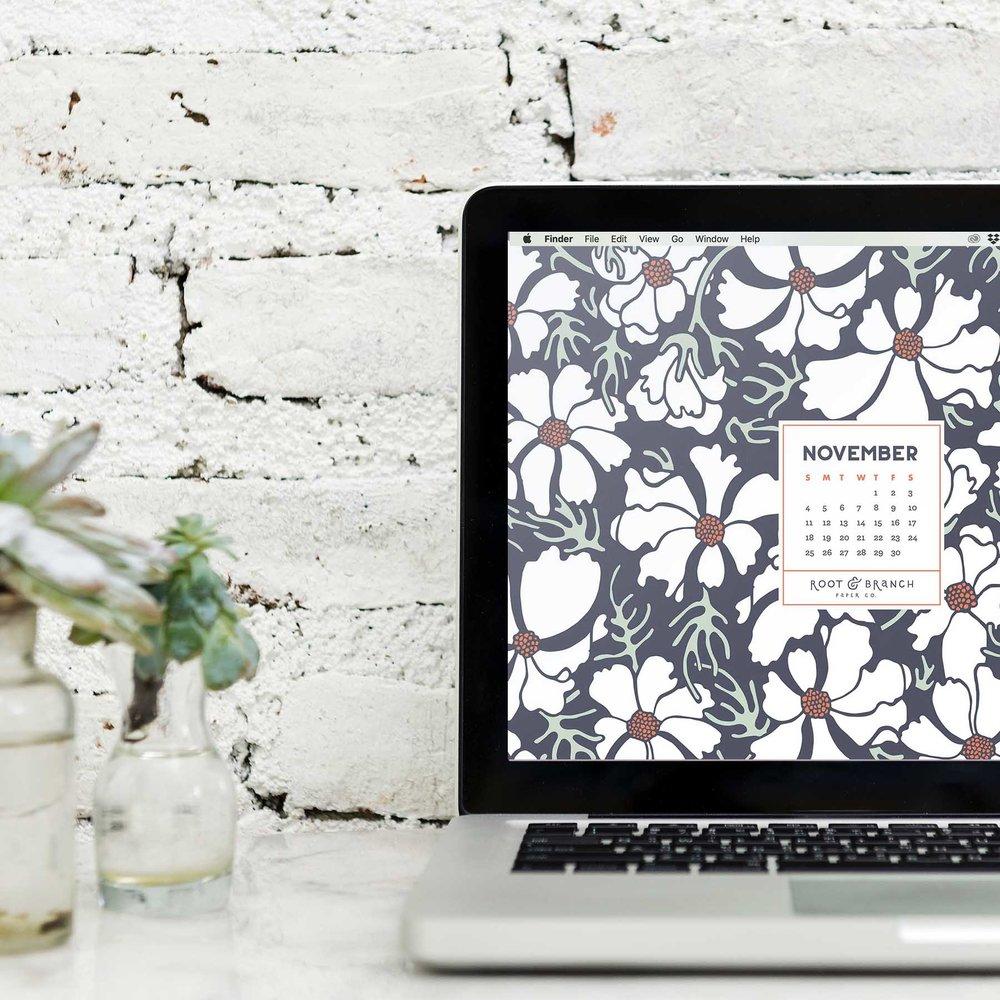 November 2018 Desktop Wallpaper, Free Floral November 2018 Monthly Calendar Desktop Background | Download Floral Illustrated Digital Wallpapers for Desktop, Tablet, + Phone | Root & Branch Paper Co.