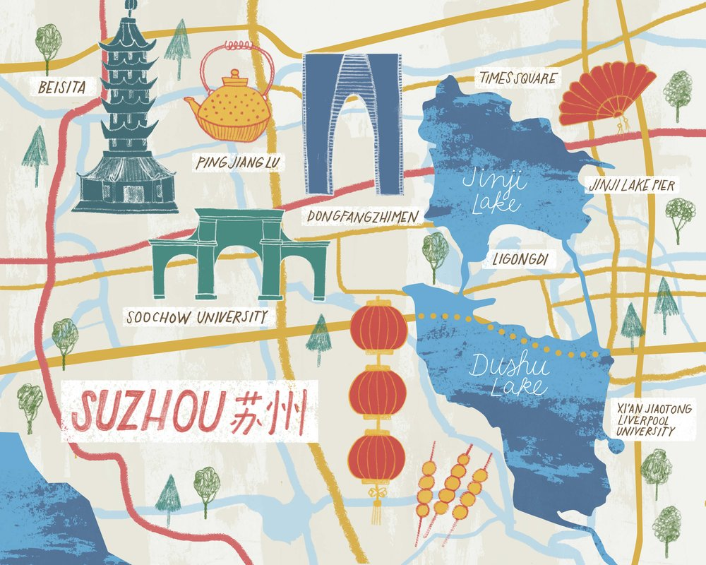 Illustrated Maps, Hand drawn Map of Suzhou, Illustrated Mapmaking by Jessie Tyree Jenness of Root & Branch Paper Co.