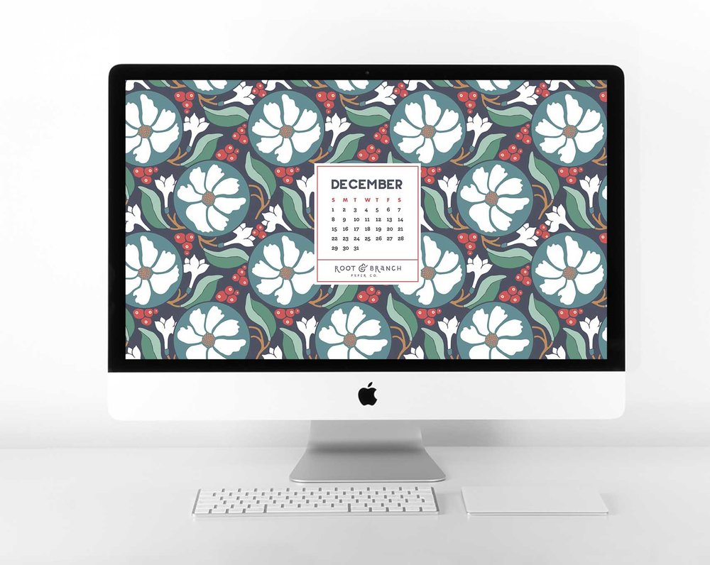 December 2018 Holiday Desktop Wallpaper, Free Floral Retro Vintage Christmas December 2018 Monthly Calendar Desktop Background | Download Floral Illustrated Digital Wallpapers for Desktop, Tablet, + Phone | Root & Branch Paper Co.