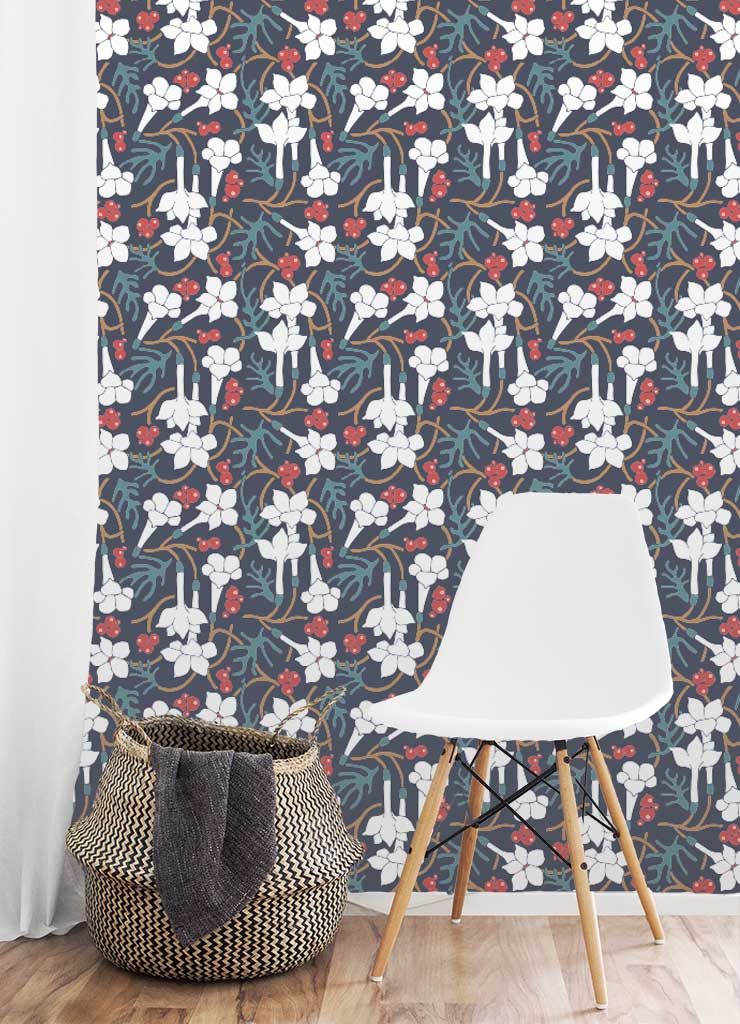 Our  Winter   Nightshade wallpaper  is available (in both water activated and peel-and-stick) on Spoonflower  HERE