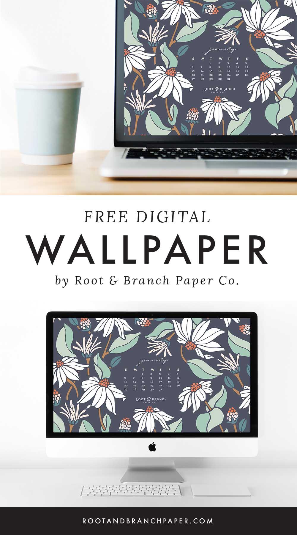January 2019 Calendar Wallpaper, Free Digital Desktop Wallpaper, Illustrated Floral Desktop Calendar by Root & Branch Paper Co.