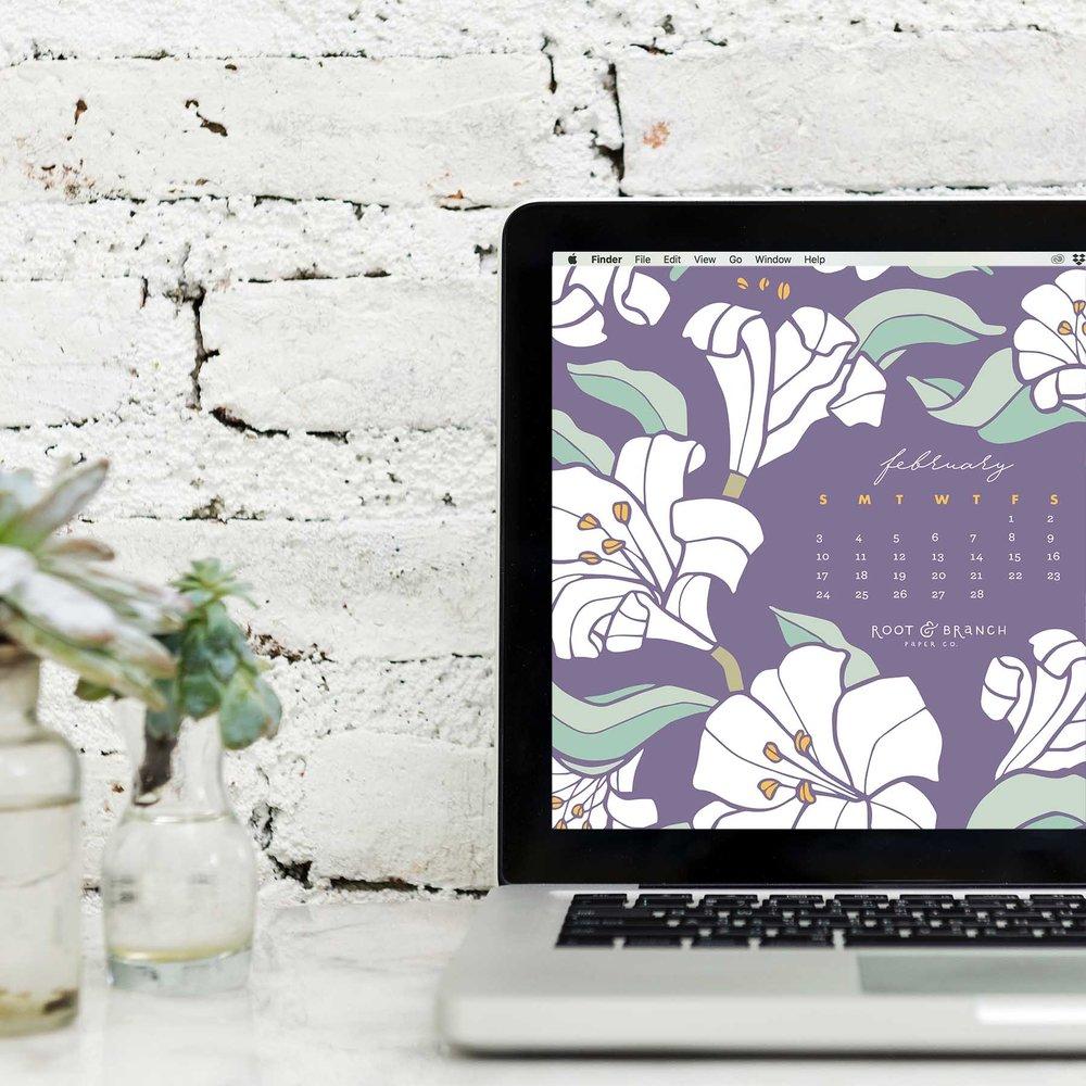 February 2019 Desktop Wallpaper, Free February 2019 Monthly Calendar Desktop Background | Download Floral Illustrated Digital Wallpapers for Desktops | Root & Branch Paper Co.