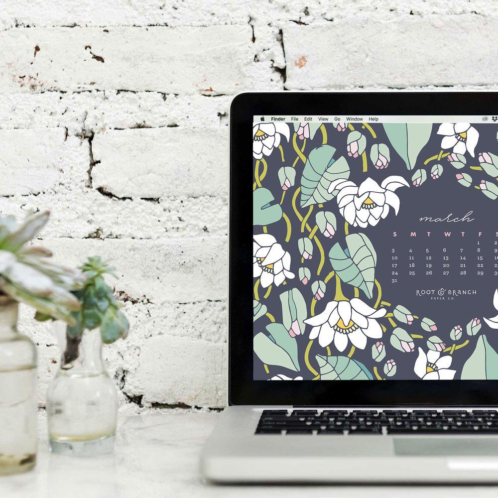 March 2019 Desktop Wallpaper, Free March 2019 Monthly Calendar Desktop Background | Download Floral Illustrated Digital Wallpapers for Desktops | Root & Branch Paper Co.
