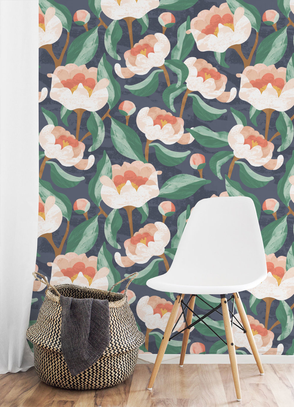 Coral Charm Peony Bold Floral Wallpaper - Our boldest floral wallpaper, with oversized blooms sure to make a statement! Each wallpaper is printed to order, making them an eco-friendly, long-lasting solution for any interior decor or DIY project you can imagine.