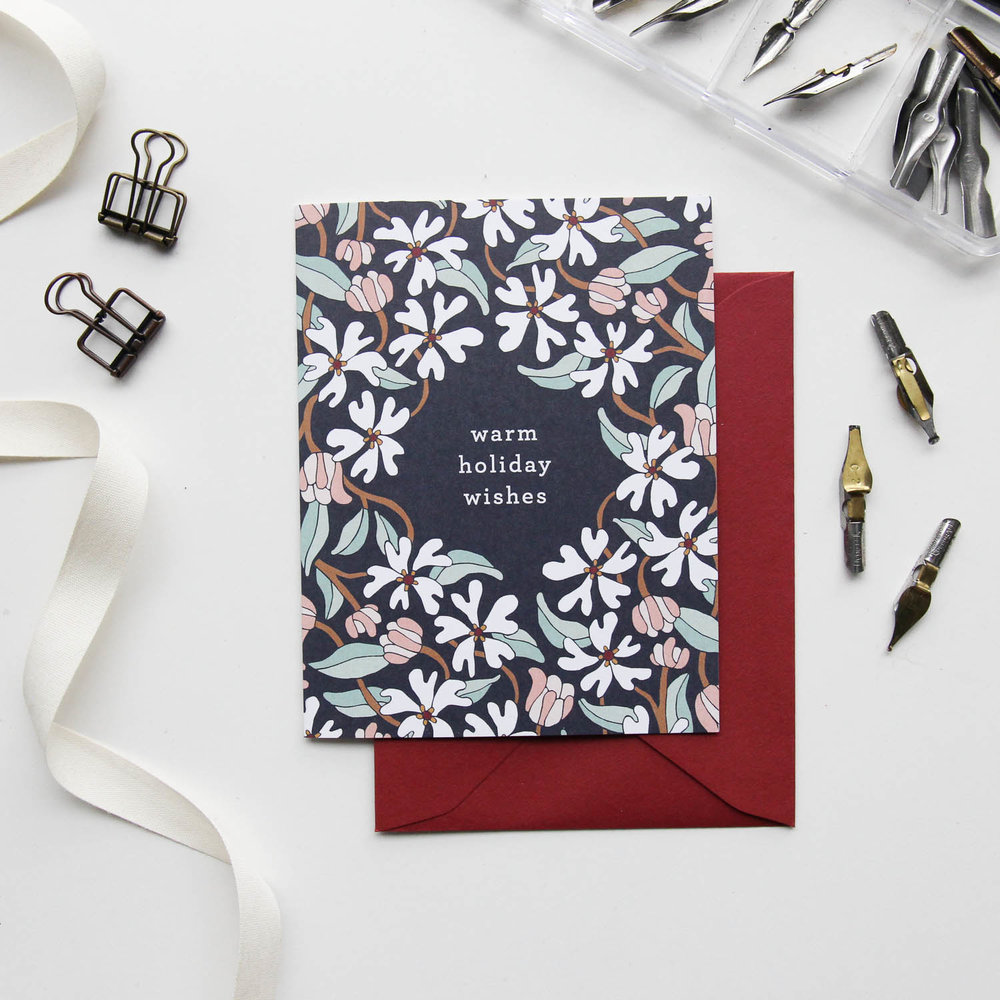 Warm Holiday Wishes Card - Christmas Cards 2018, Holiday Cards | Illustrated Floral Christmas Cards by Root & Branch Paper Co.