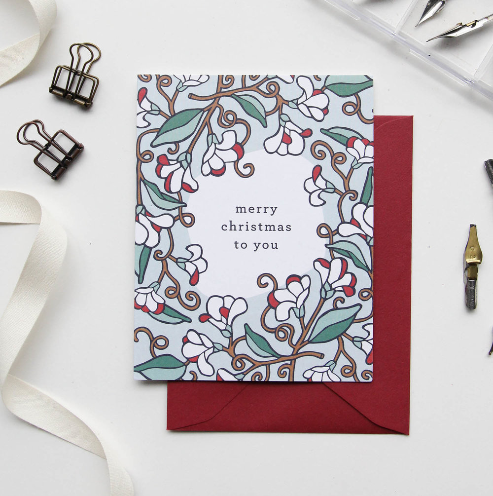 Merry Christmas to You Card - Christmas Cards 2018, Holiday Cards | Illustrated Floral Christmas Cards by Root & Branch Paper Co.