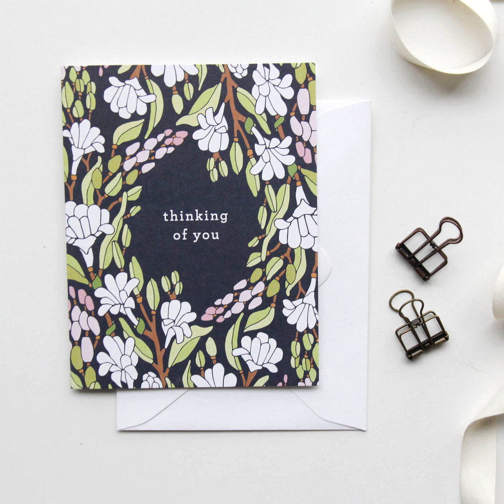 Thinking of You Card - Christmas Cards 2018, Holiday Cards | Illustrated Floral Christmas Cards by Root & Branch Paper Co.