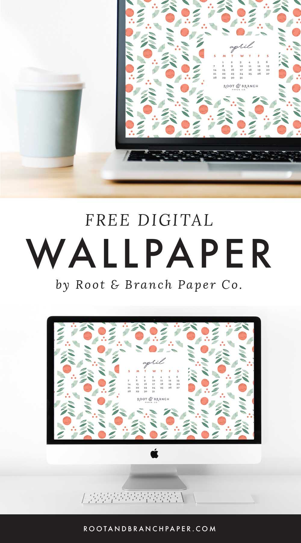 April 2019 Calendar Wallpaper, Free Digital Desktop Wallpaper, Illustrated Floral Desktop Calendar by Root & Branch Paper Co.