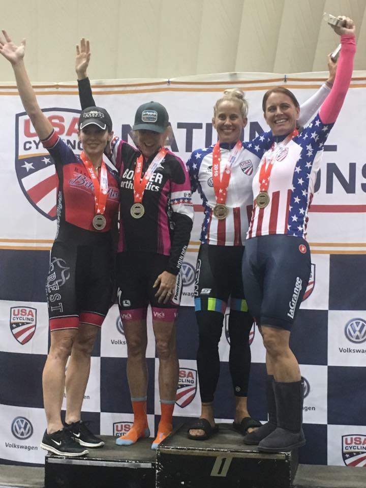 Elise Traylor wins Masters National Titles in Team Sprint and Team Pursuit on the track in Colorado Springs!
