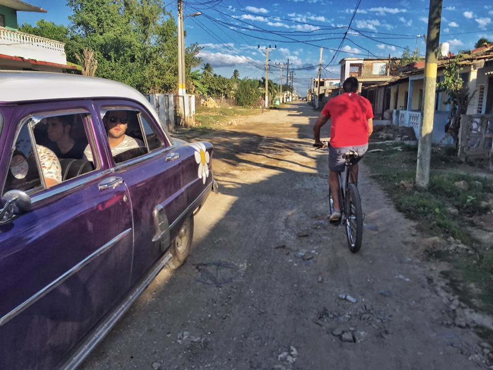 2016 La Granger of the Year Patrick Barrett and Jonathan Lopez riding bikes in Cuba.