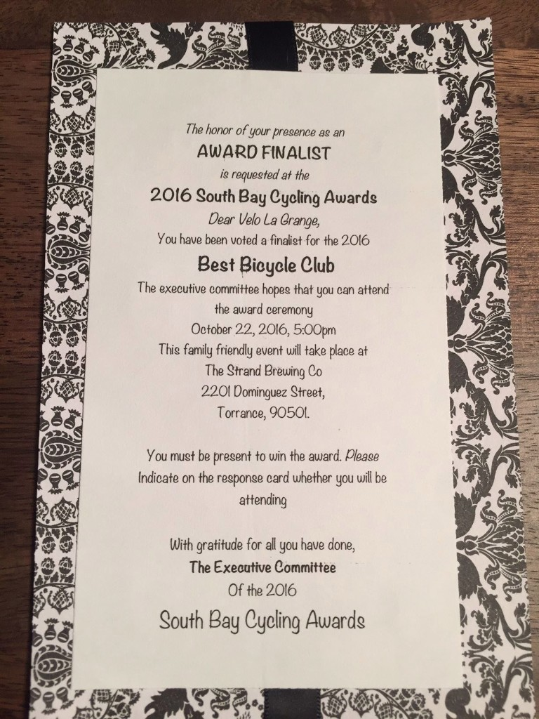 Velo Club La Grange was nominated for a Wanky at the South Bay Cycling Awards!