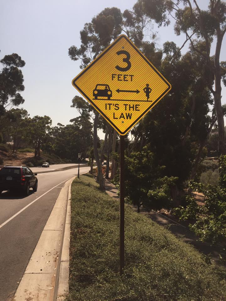 The first of many '3 Feet - It's The Law' signs going up in Palos Verdes as a direct result of organized, smart, effective bike advocacy.