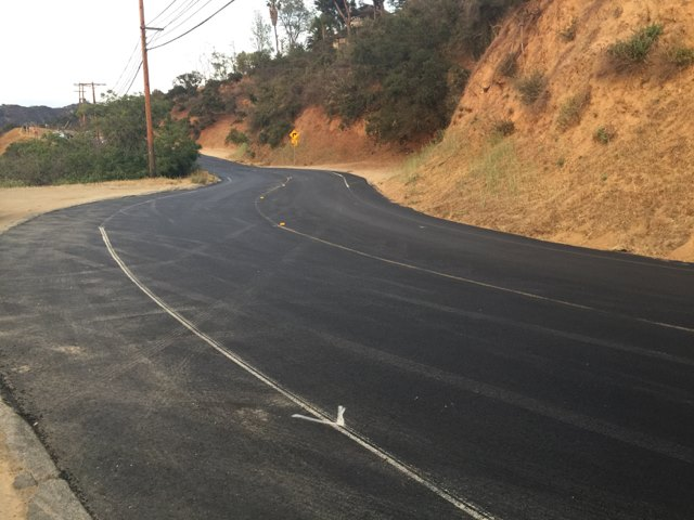 New pavement on Mulholland just in time for the Raymond Fouquet Memorial Nichols Ride on July 10!