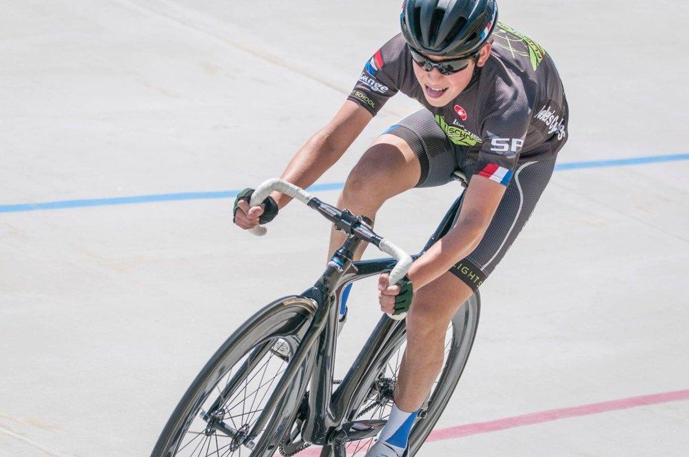 Ari Elkins at the La Grange Cup 500M at Encino Velodrome.