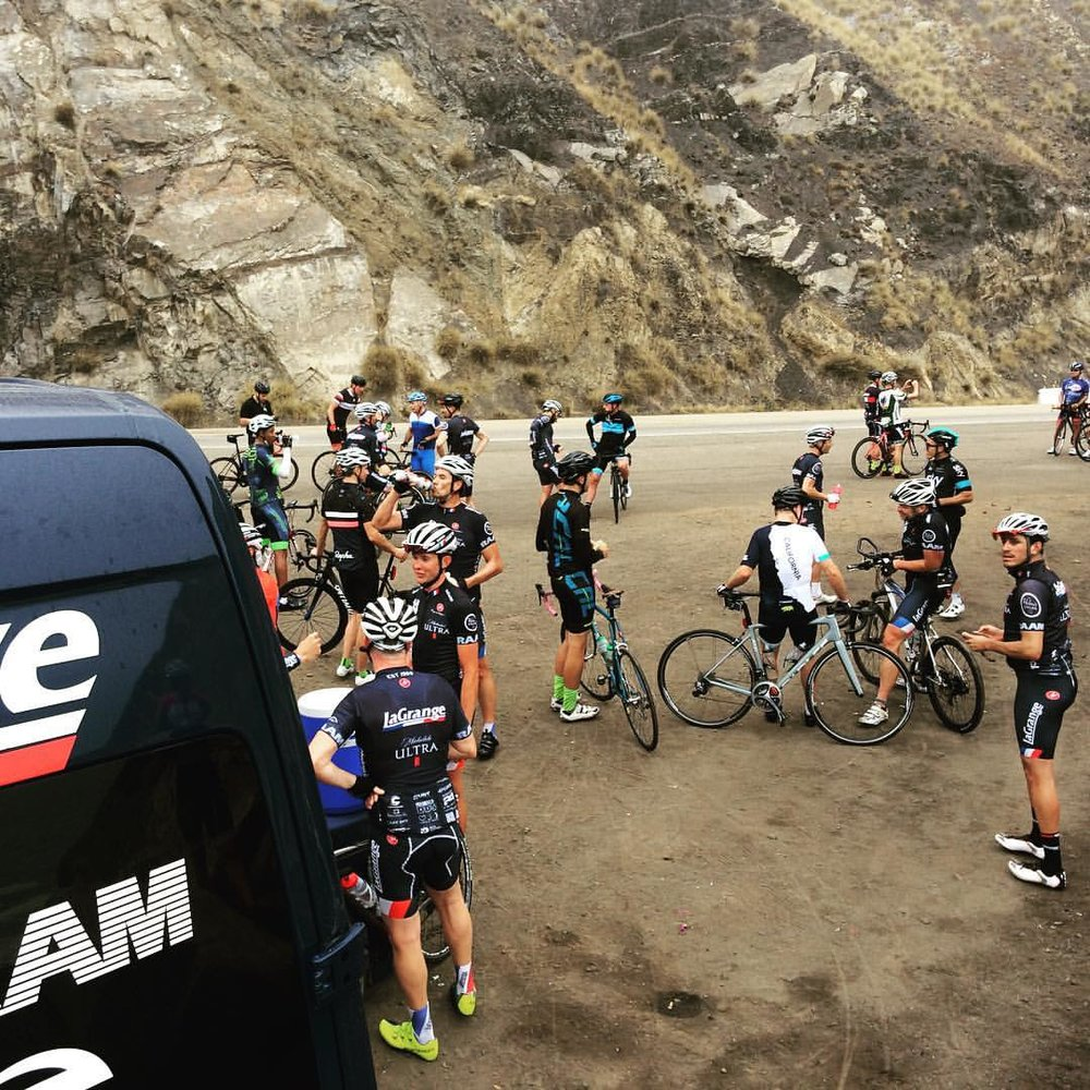 Louis Bianco and the La Grange van providing feed zone support for the Helen's Cycles monthly group ride, this time nonstop to The Rock from Santa Monica!